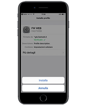 Configurazione Fastweb iPhone