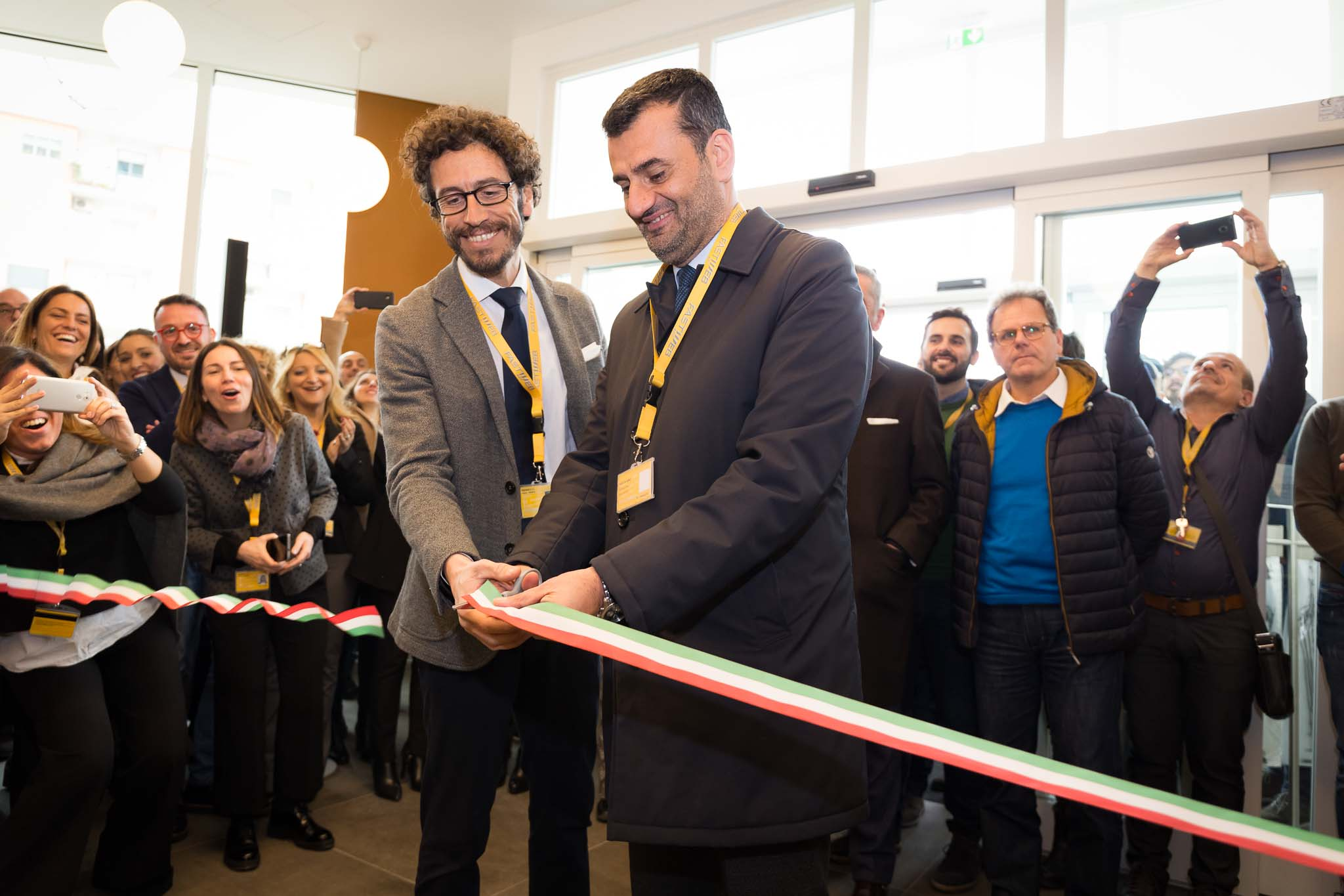 Da sinistra Alberto Calcagno Amministratore Delegato di Fastweb Antonio Decaro Sindaco del une di Bari