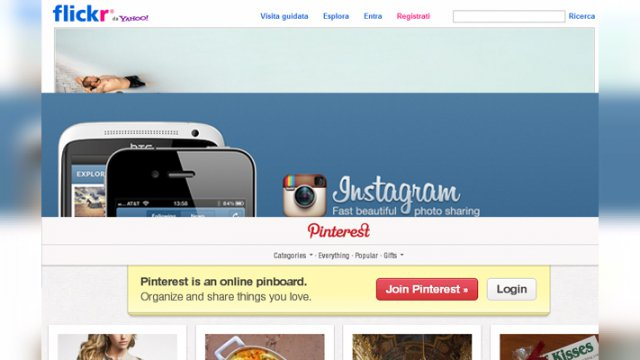 Le homepage di Pinterest, Flickr e Instagram