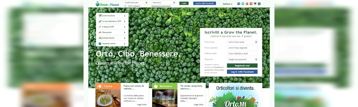 Homepage di Grow the Planet