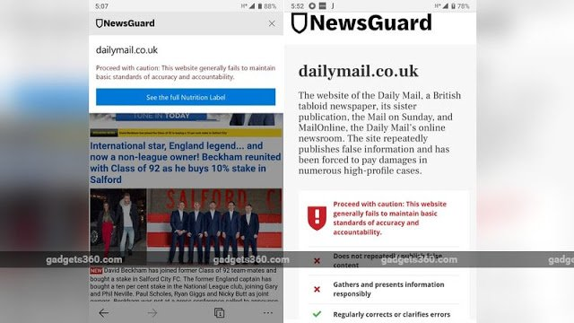 Microsoft Edge per mobile contro le fake news